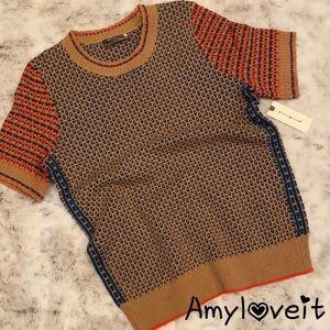 Anthropologie Short Sleeve Sweater Top